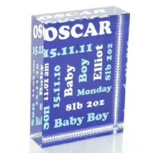 Commemorative New Baby Crystal - Unique Personalised Baby Boy or Girl Gift or Christening Keepsake